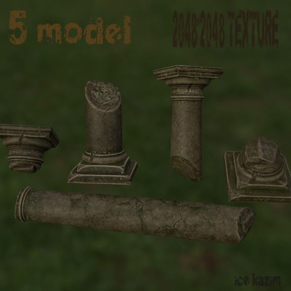 Broken_Column_Set - 3DOcean Item for Sale