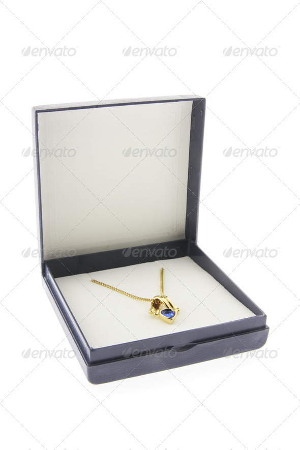 Gold Chain with Pendant in Box - Stock Photo - Images