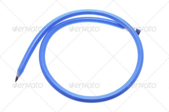 Blue Flexible Pencil - Stock Photo - Images