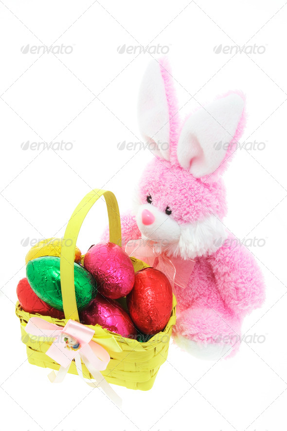 Bunny and Easter Eggs - Stock Photo - Images
