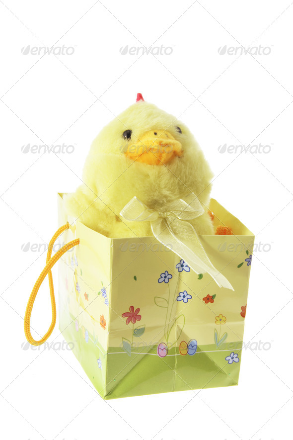 Toy Easter Chick in Shopping Bag - Stock Photo - Images