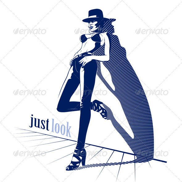 Pretty women in jeans top and hat   - People Characters