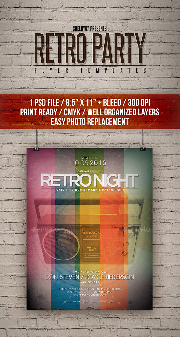 Retro Party Flyer Templates - Events Flyers