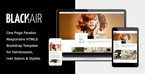 Blackair – One Page HTML5 Template for Hair Salons