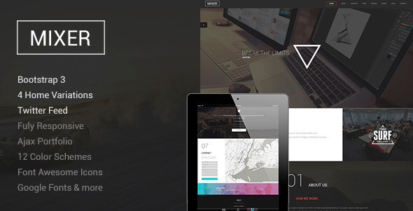 Mixer - Responsive One Page WP Theme - Creative WordPress