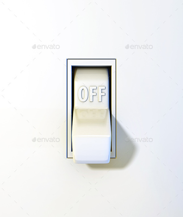 Close Up Wall Light Switch in the Off Position - 3D Backgrounds