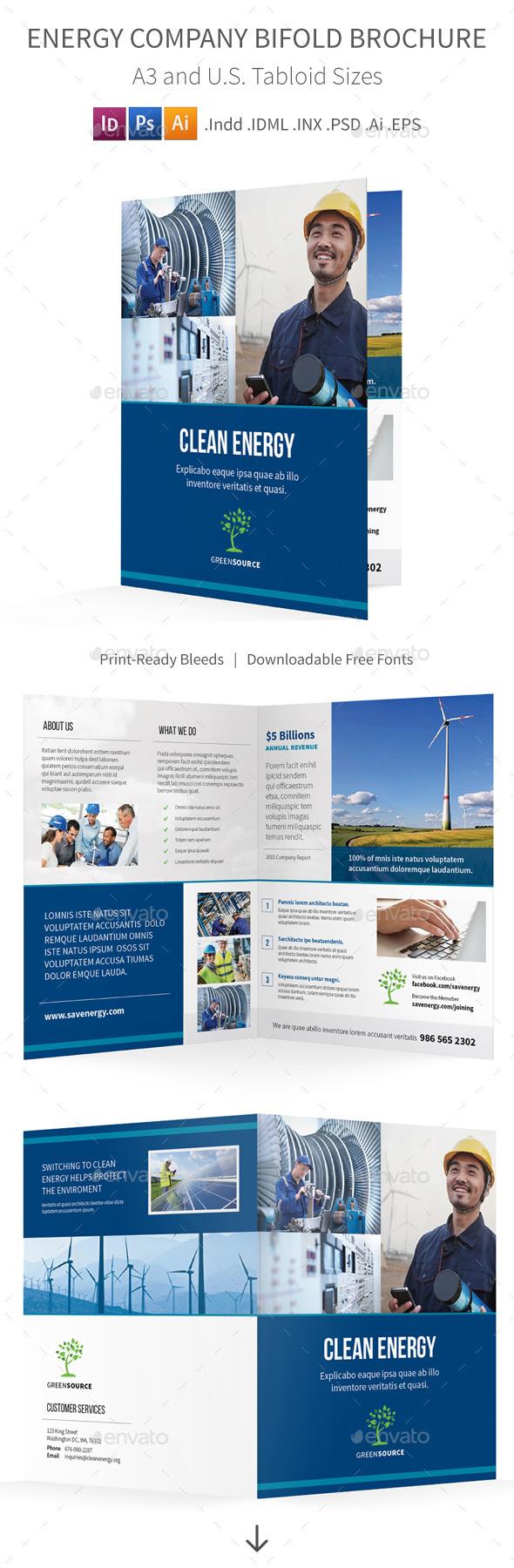Energy Company Bifold / Halffold Brochure - Informational Brochures