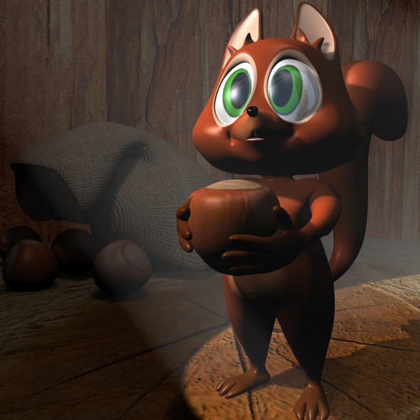 Cartoon Squirrel RIGGED - 3DOcean Item for Sale