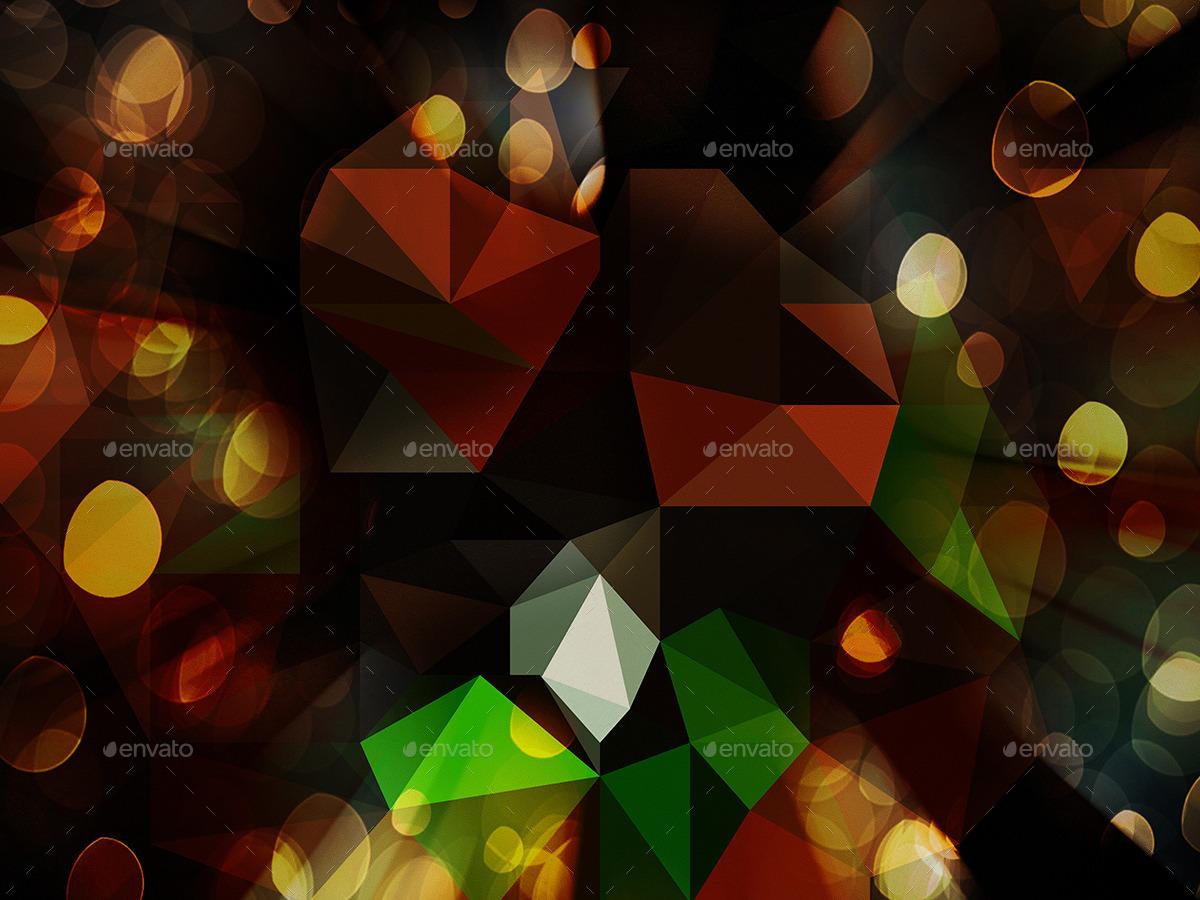 11 Dark Bokeh Polygonaln Backgrounds