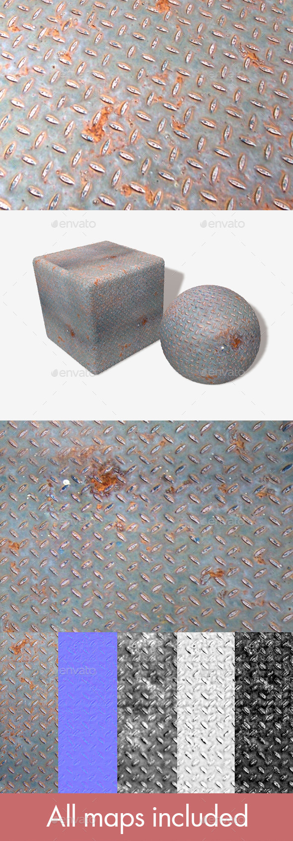 Rusty Metal Grid Seamless Texture - 3DOcean Item for Sale
