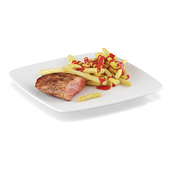 Steak with french fries - 3DOcean Item for Sale