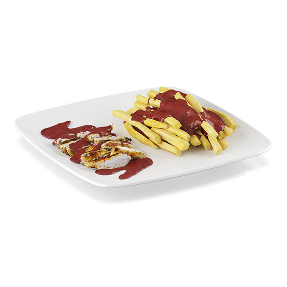 Chicken breast with french fries - 3DOcean Item for Sale