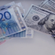 Counting Euro and Dollar Machine and Hand - VideoHive Item for Sale