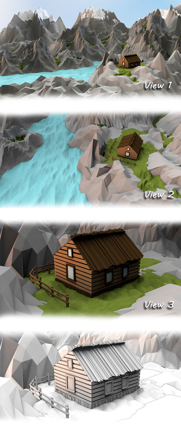 Low poly mountain lodge - 3DOcean Item for Sale