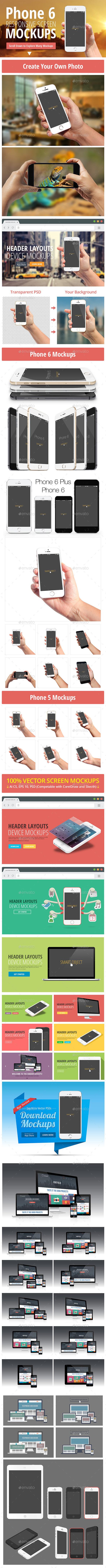 Responsive Screen Mockups - Displays Product Mock-Ups