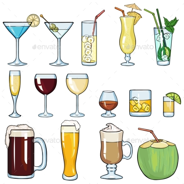 set of cartoon cocktails and alcohol drinks by nikiteev graphicriver rh graphicriver net cartoon drinking water cartoon drinking
