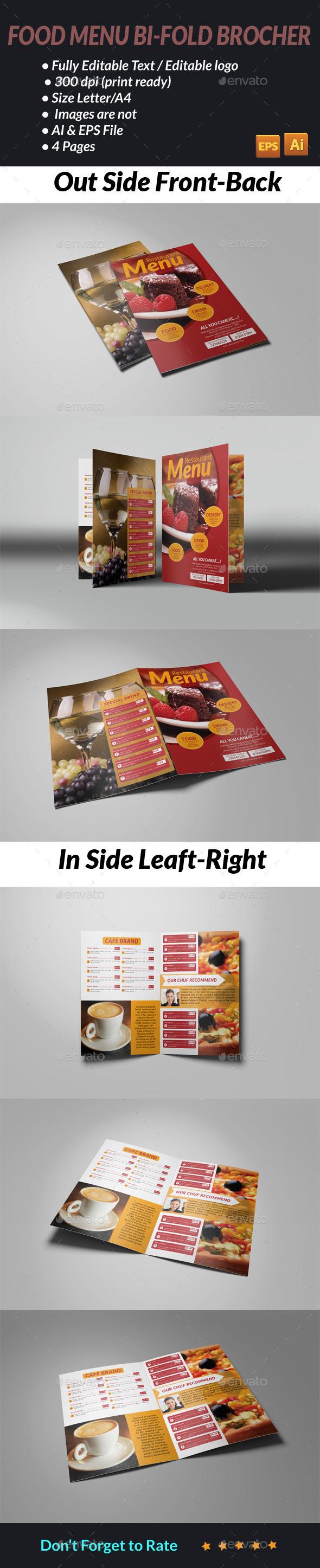 Food Menu Bi fold Brochure - Food Menus Print Templates