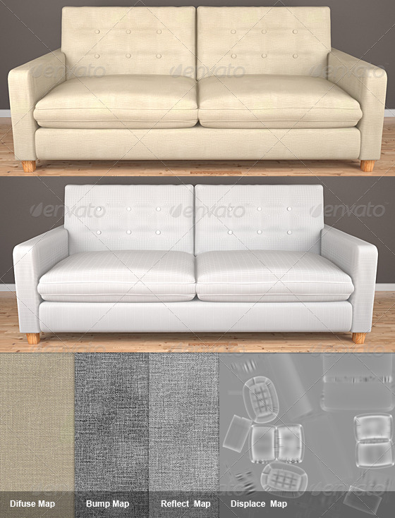 2 Seat HQ Sofa - 3DOcean Item for Sale