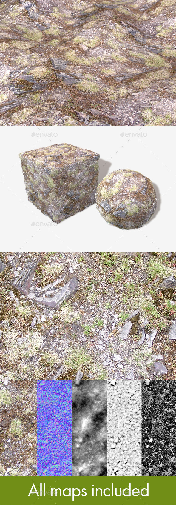 Hill Rocks 01 Seamless Texture - 3DOcean Item for Sale