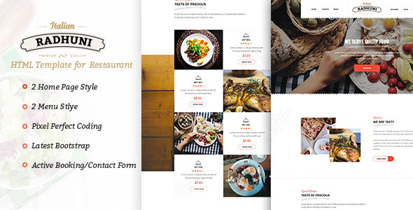 Italian Radhuni - Food & Resturant HTML Template - Restaurants & Cafes Entertainment