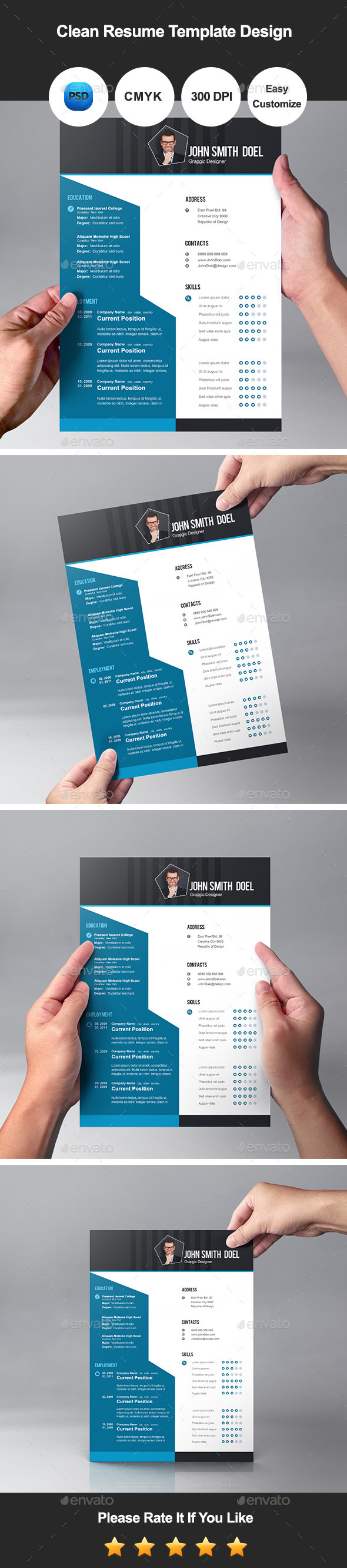Clean Resume Template Design - Resumes Stationery