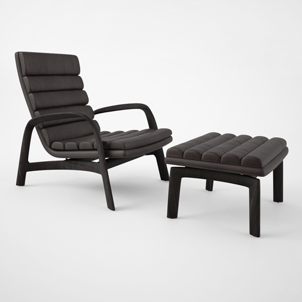 Minotti Saville Armchair and Stool - 3DOcean Item for Sale