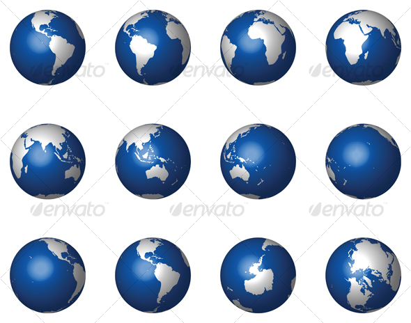 12 Glossy Vector Globes - Travel Conceptual