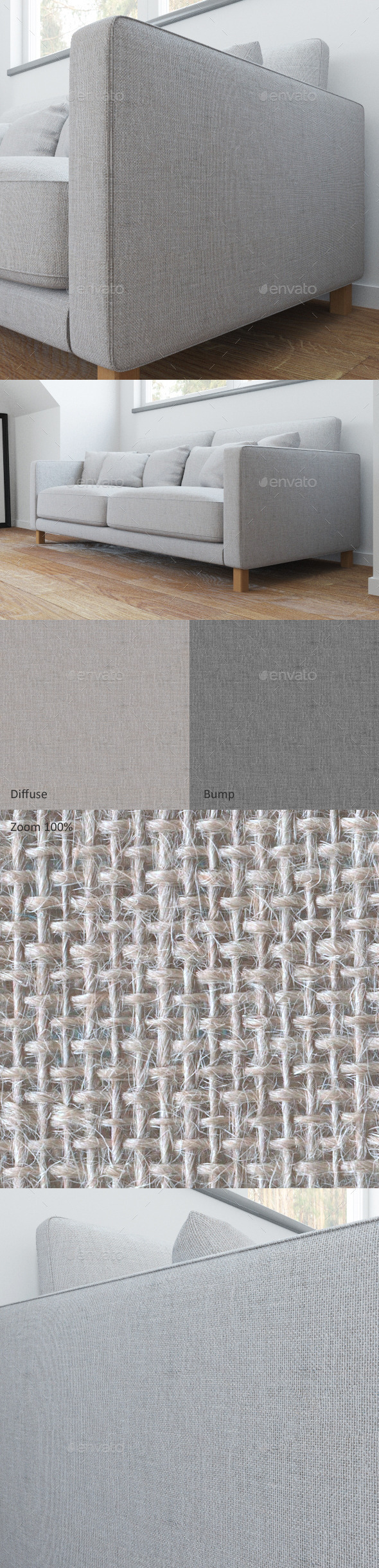 Sofa linen seamless texture - 3DOcean Item for Sale