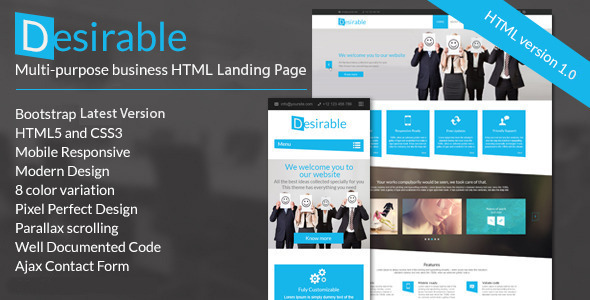 Desirable –  Business Landing Page Template