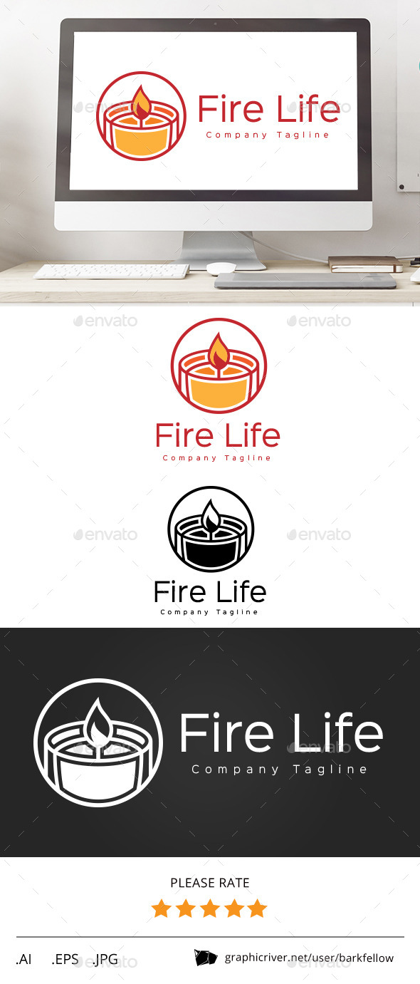 Fire Candle Life Logo - Symbols Logo Templates