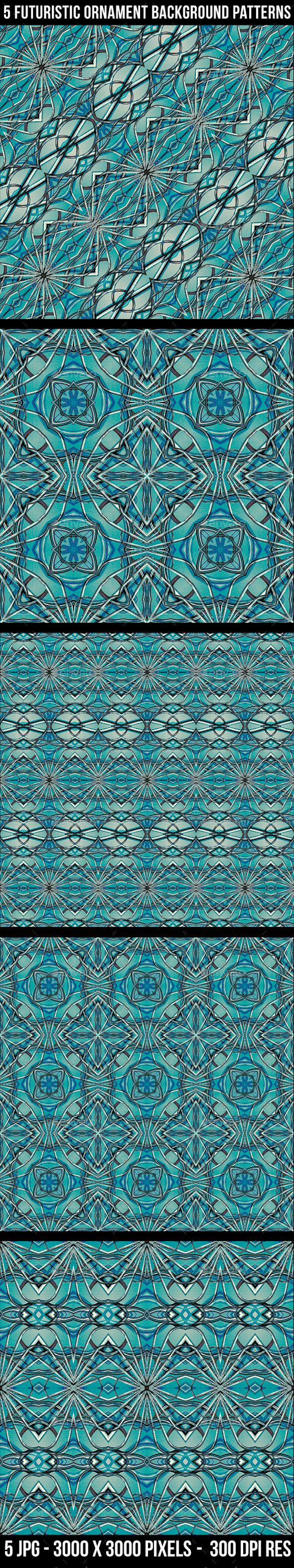 5 Futuristic Ornament Patterns - Tech / Futuristic Backgrounds