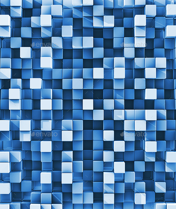 Blue Checkered Reflective Cube Background By