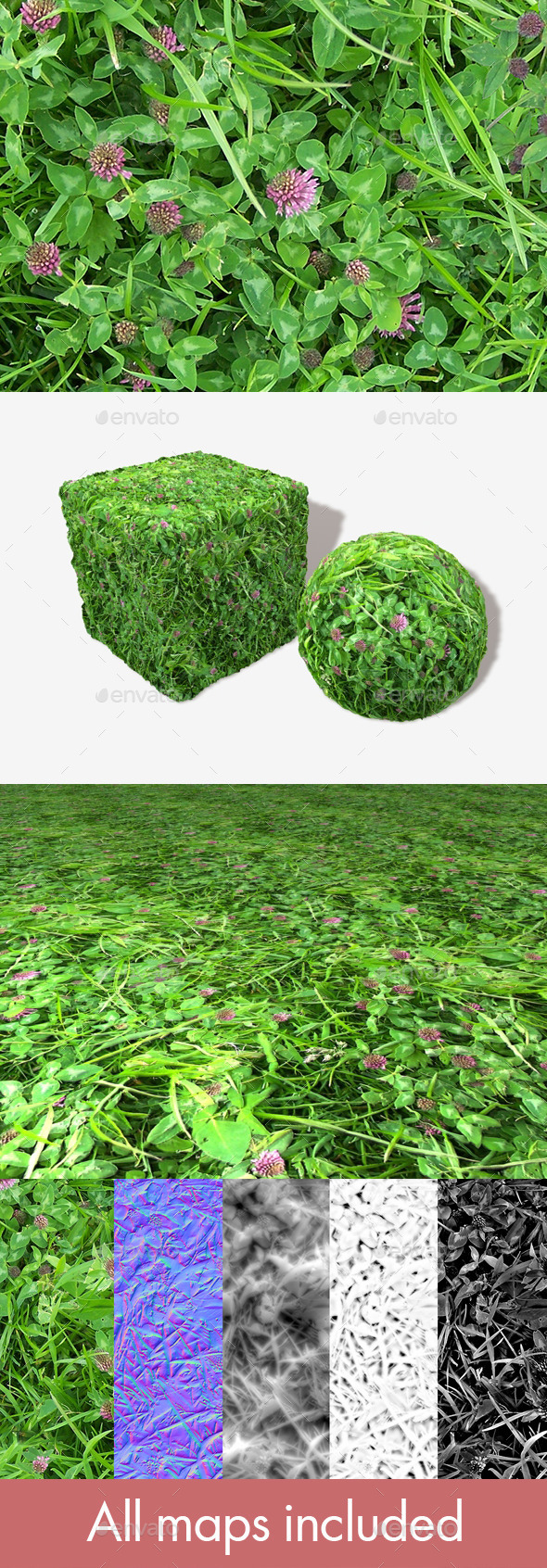 Pink Clover Seamless Texture - 3DOcean Item for Sale