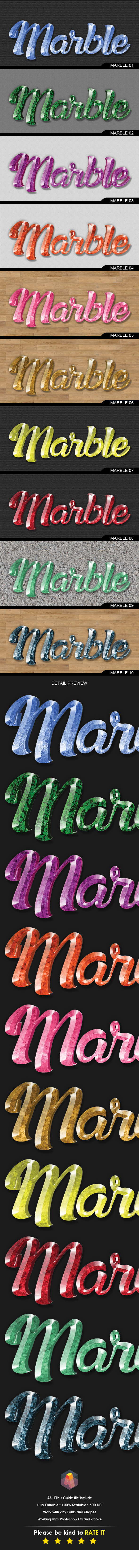 3D Text Effects Marble/Gem Stone Styles - Text Effects Styles