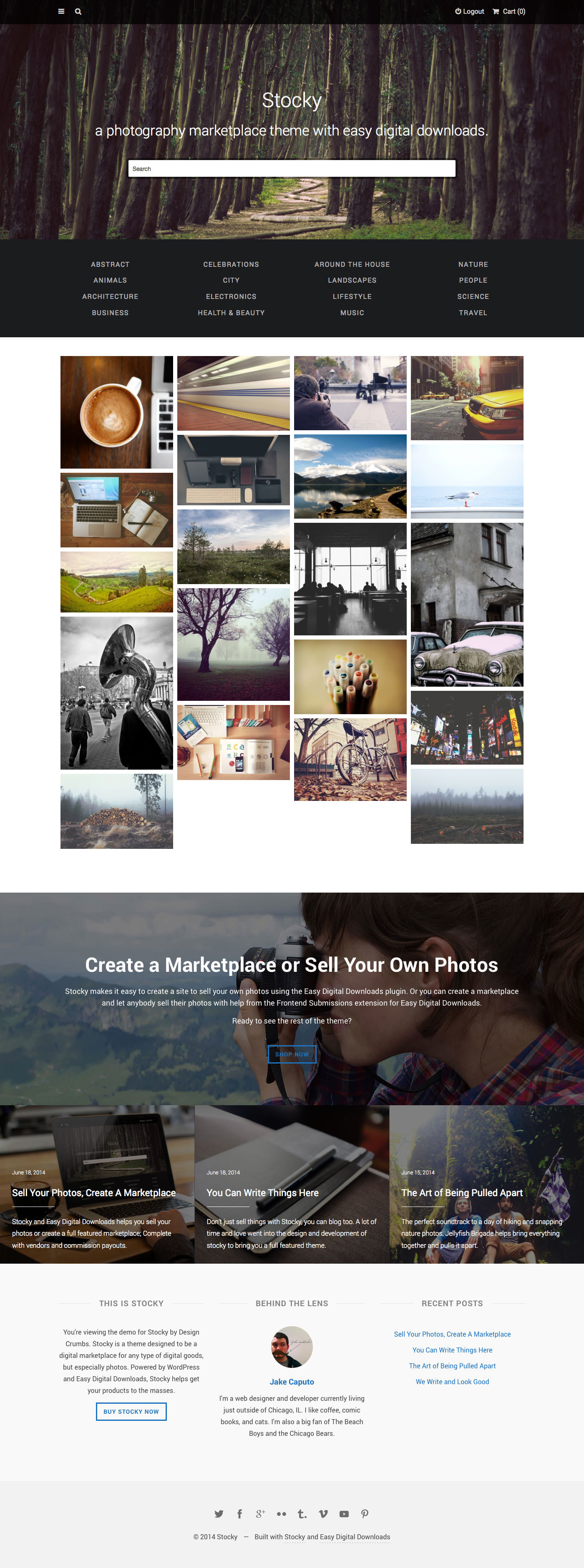 stocky a stock photography marketplace theme by designcrumbs