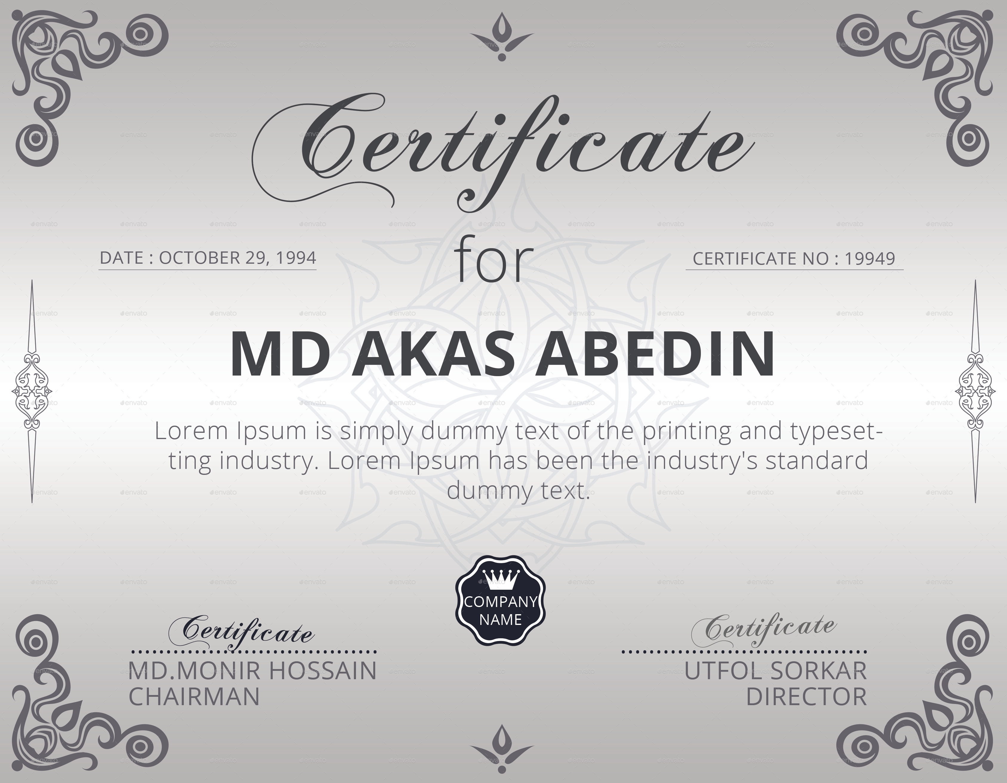 Certificate template by elitedesigner graphicriver certificate template certificates stationery 01screenshotg yelopaper Image collections