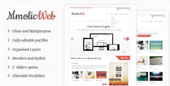 Mmolic web – Creative and Clean  Psd Template