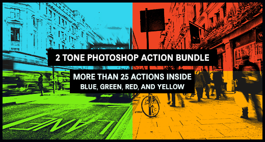 2 Tone Photoshop Action Bundle