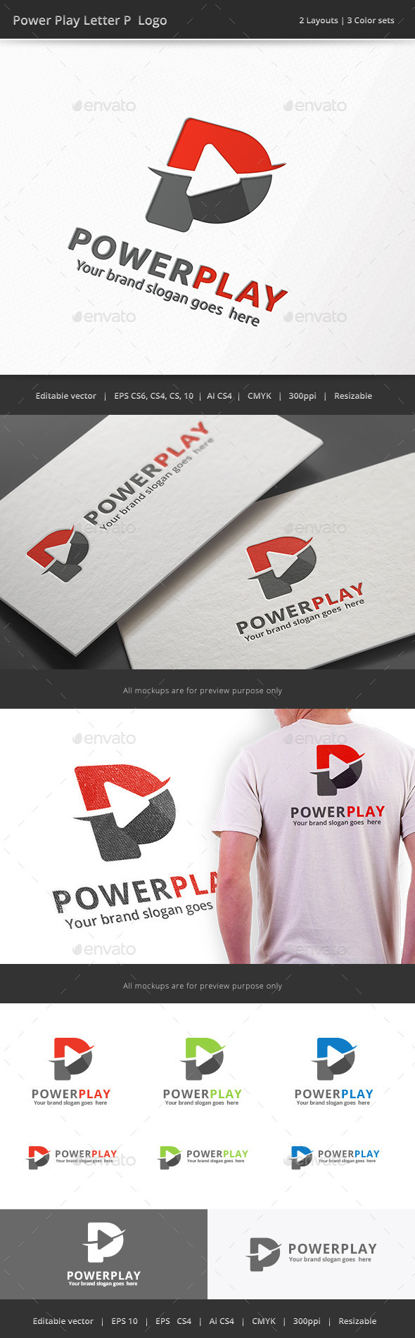 Power Play Letter P Logo - Letters Logo Templates
