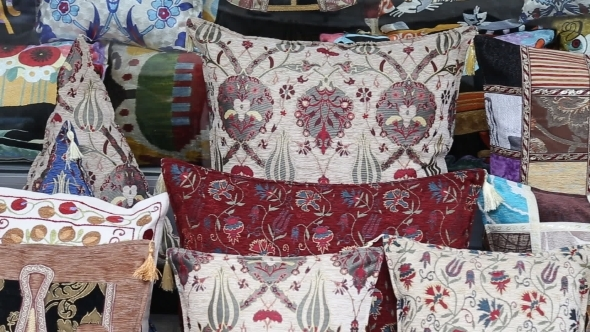 Colorful Turkish Design Cushions At Grand Bazaar