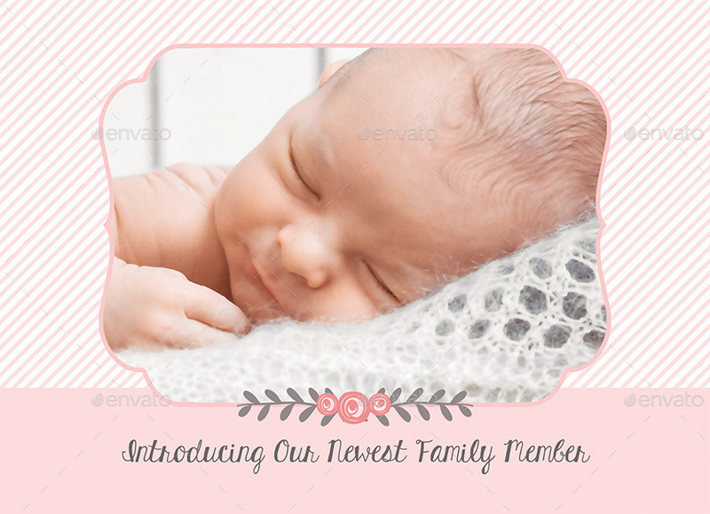 Birth Announcement Template  Baby Girl By Carouselleriecreative