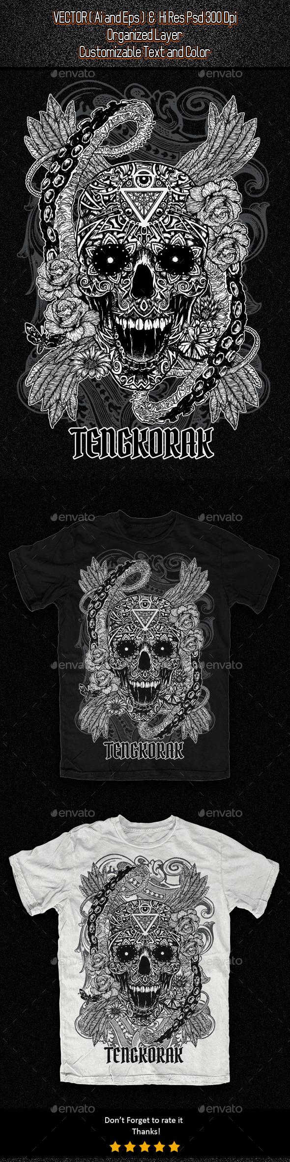 Decorative Skull Illustration - Grunge Designs