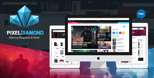 Pixel Diamond PSD Gaming Magazine + Store - Creative PSD Templates