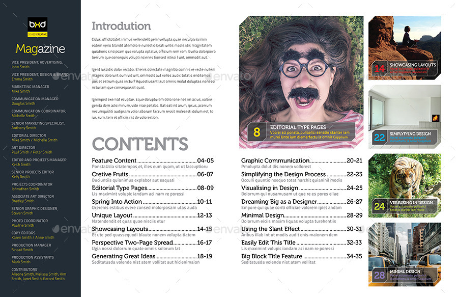 Magazine Template - InDesign 40 Page Layout V1 by BoxedCreative ...