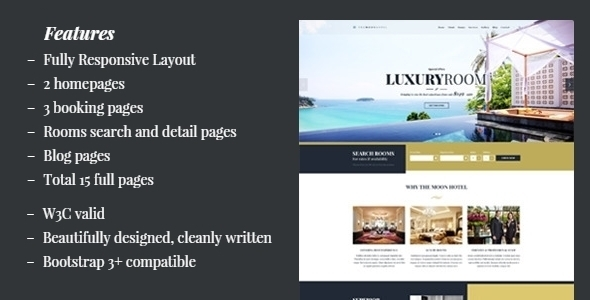 Moon - Hotel HTML Template