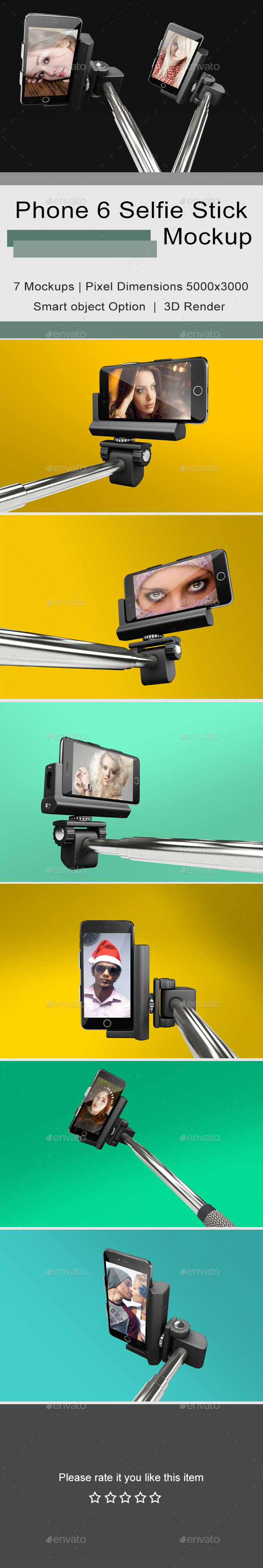 Phone 6 Selfie Stick Mockup 2 - Mobile Displays