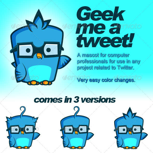 Twitter Geek Bird - Animals Characters