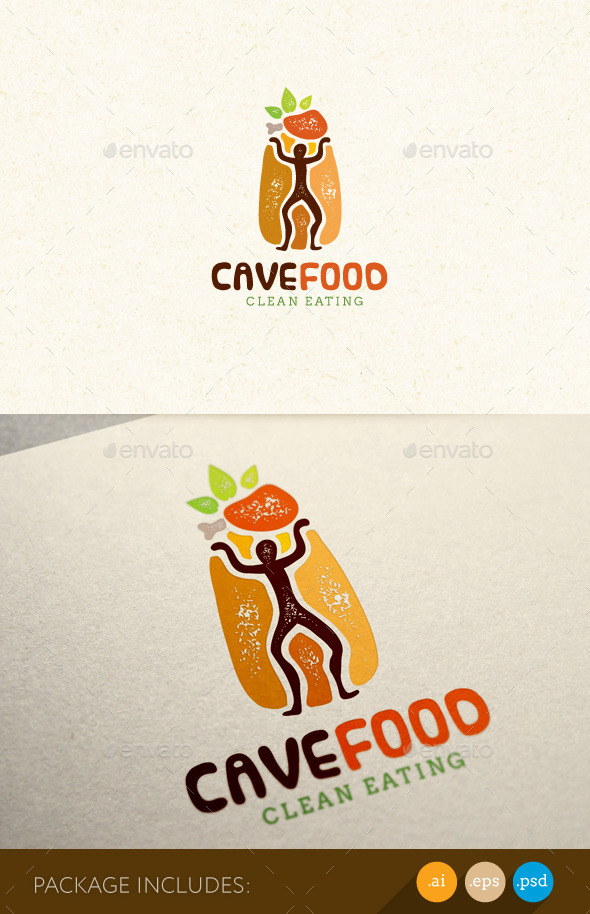 Paleo Food Eat Clean Diet Logo Concept - Food Logo Templates