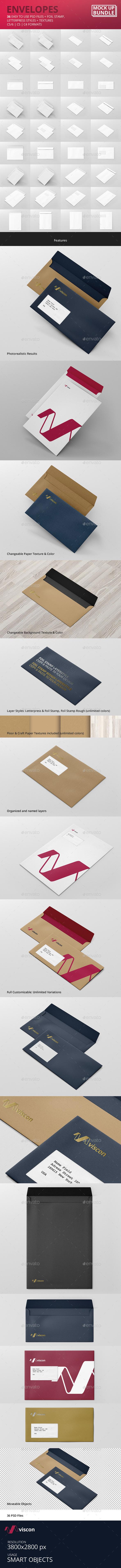 Envelopes Mock-Up Bundle - Stationery Print