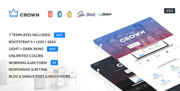 Crown – Multipurpose Responsive Landing Page